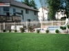 2 Rail Ornamental Iron Fence Surrounds Pool