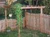 Flat Topped Cedar Picket Fence With Gazebo