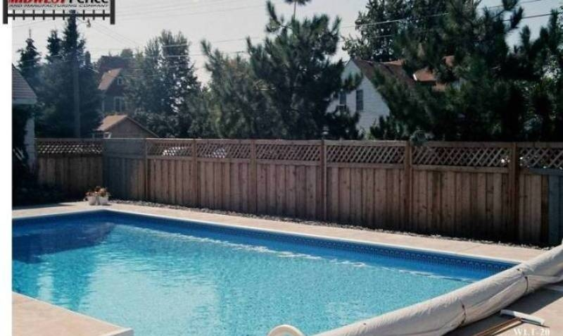 Pool Privacy Fence lattice top wood privacy fences - midwest fence