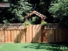 Lattice Top Wood Fence With Gate and Awning
