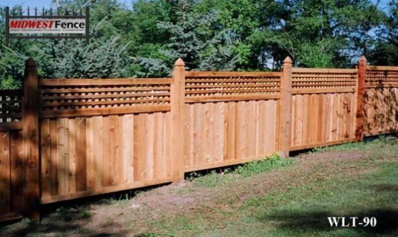 Sloped Lattice Top Wood Fence